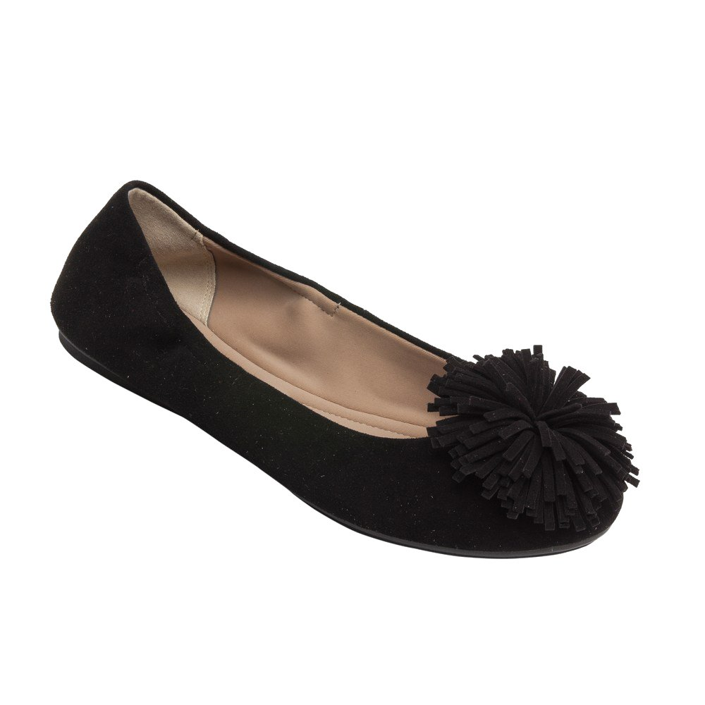 PIC/PAY Kiana - Women's Tassel Elastic Ballet Flat - Embellished Suede Leather Pompom Comfortable Slip-On B07535F4WS 5 B(M) US|Black Suede