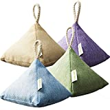 HUANLEMAI 4-Pack x 200g Natural Activated Moso-Bamboo Charcoal Air Purifying Bags, Fragrance Free, Chemical Free, Odor Eliminator Dehumidifier Purifier Absorb Moisture for Home, Kitchen, Closet, Car