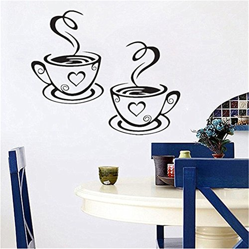 dds5391 Home Kitchen Restaurant Cafe Tea Wall Sticker Coffee Cups Sticker Wall Decor by dds5391 (Image #1)