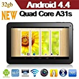 Newest 10.1 Inch Google Android 4.4.2 Kitkat Tablet 32gb A31s Quad Core 1gb Ram, 32gb Nand Flash/ Dual Camera,/HDMi/Google Play Pre-installed/ 3D Game Supported