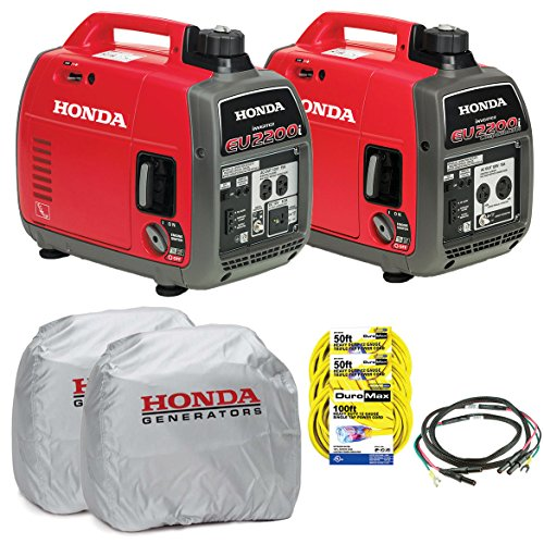 Honda EU22000i and EU2200ic Companion Parallel Combo Kit 2 Tri Tap Round Extension Cords 1 Round Extension Cord 2 Honda Covers