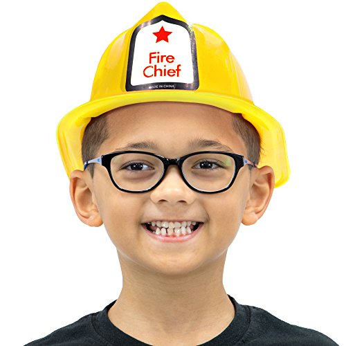 Fireman's Helmet Kid's Halloween Costume Plastic Hat Accessory - Dress Up Theme Party Roleplay & Cosplay Headwear (Yellow)