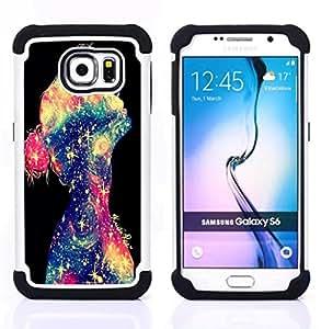 /Skull Market/ - Space Girl Art For Samsung Galaxy S6 G9200 - 3in1 h????brido prueba de choques de impacto resistente goma Combo pesada cubierta de la caja protec -