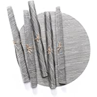 D-home Round Placemats Set of 6 Durable Textilene Woven...