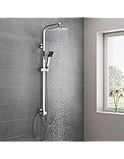 Duschsystem Duscharmatur Edelstahl, WOOHSE Brauseset Duschstange mit Regendusche Überkopfdusche und Handbrause Duschsäule Duschset verchromt, Höhenverstellbar 88,5~123,5 cm