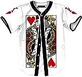 (US) Retrograder Unisex Casual Short Sleeve V Neck Poker Print Buckle Team Sport Baseball Shirts Jersey Jacket Coats B081-5-M