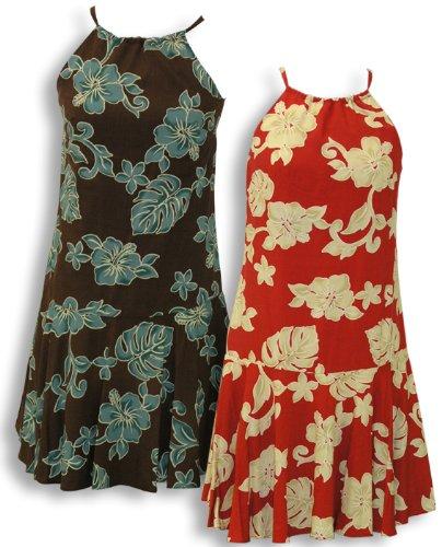 Drop Waist Halter Dress - Bold Hibiscus Hawaiian Aloha Drawstring Back Flared Circular Skirt Halater Sun Dress in Red - (Garden Drop Waist Dress)