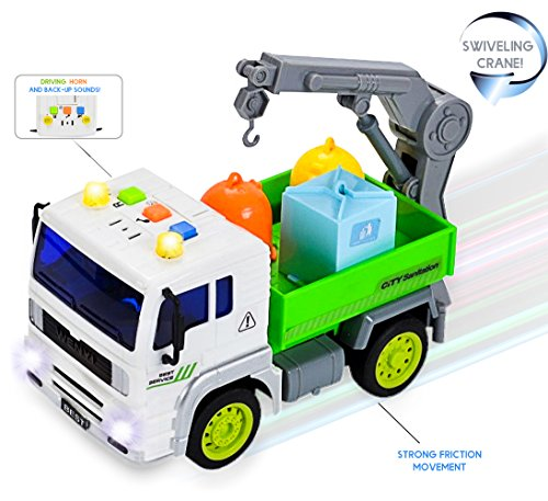 FUNERICA™ Garbage Truck Toy with Sound Effects, Lights & Swivel Crane for Loading 3 Colored Sanitation Garbage Cans - Strong Friction Rolling Action Wheels - Pick Up Trucks Style