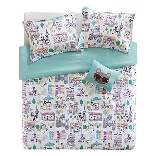 Comfort Spaces Paco 3 Piece XL/Twin Comforter Set Kitty Cat Paris Eiffel Tower Cute Print for Toddler Kids Boys Girls All Season Down Alternative, Aqua