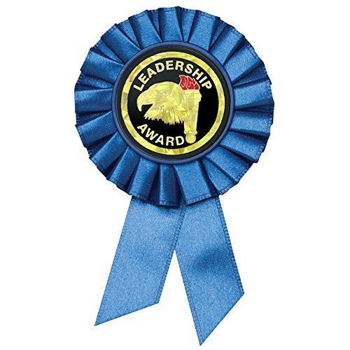 Academic Blue Rosette Ribbon with Leadership Award Mylar - Pack of 10