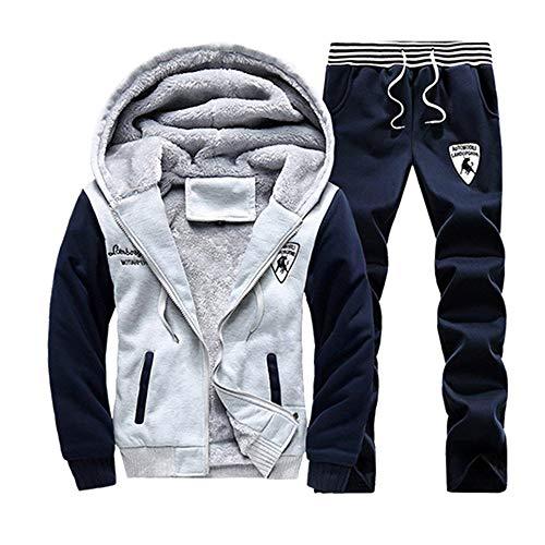 TOP Fighting Men's Activewear Fleece Tracksuits 2 Pieces Jacket & Pants Full Zip Jogging Sweatsuit Sportswear (Light Grey/Medium)