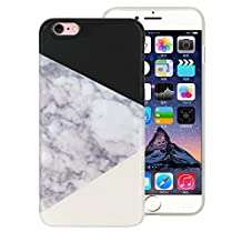 "JUNCH iPhone 6S Case, Scenario Marble Series [Stone Texture Collection] Anti-scratch Soft TPU Bumper Protective Durable Case Cover for Apple iphone 6/6S 4.7"" (BLACK/WHITE)"