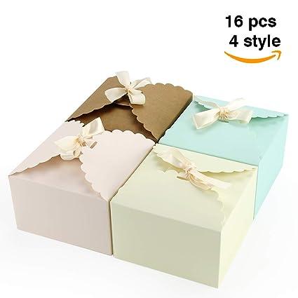 VEESUN Cajas para Regalo, 16pcs 4 Puro Colores Bolsas de Regalo Cajas de Papel Kraft con Cinta Personalizada Papel de Regalo para Aniversario Boda ...