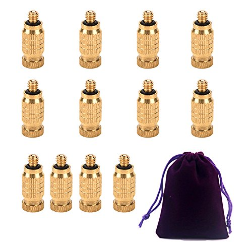 - Adasea 12 Pack Misting Nozzles Brass High Pressure Misting Nozzle for Greenhouse Landscaping Dust Control and Outdoor Cooling System,4 Size (With a Pouch)