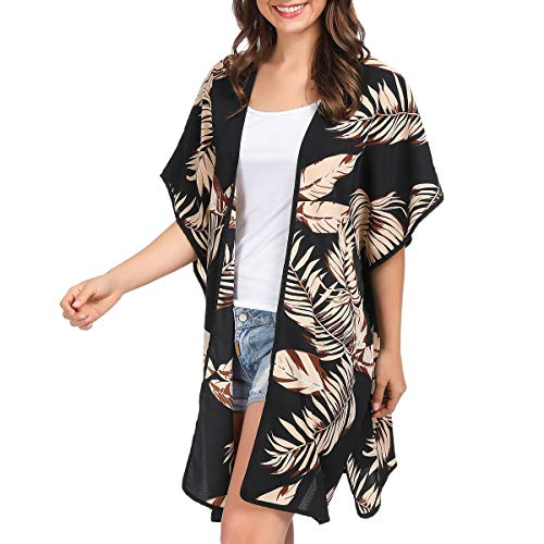 (Women Kimono Cardigan Floral Printed Casual Loose Beachwear Cover ups Tops(Colour17))