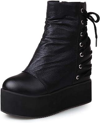 Women Plush Faux Fur Ankle Boots Platform Zip Up Buckle Glitter Block Heel Shoes