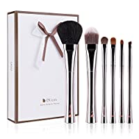 DUcare Makeup Brushes 15 Pcs Natural Goat Synthetic Professional with Leather Case(Sliver and Black)