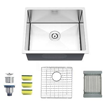 mensarjor 22 x 18 single bowl kitchen sink 16 gauge undermount rh amazon com