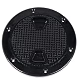 KEMIMOTO Black Marine Boat Round Non Slip Inspection Hatch with Detachable Cover