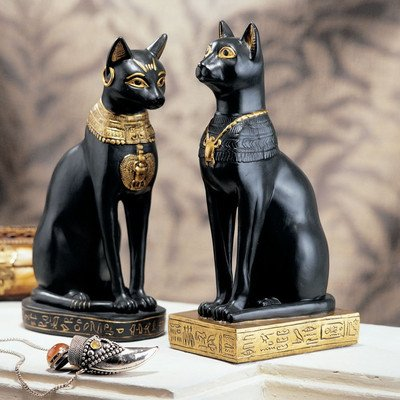 Design Toscano Egyptian Cat Goddess Bastet Statue in Matte Black (Set of 2)