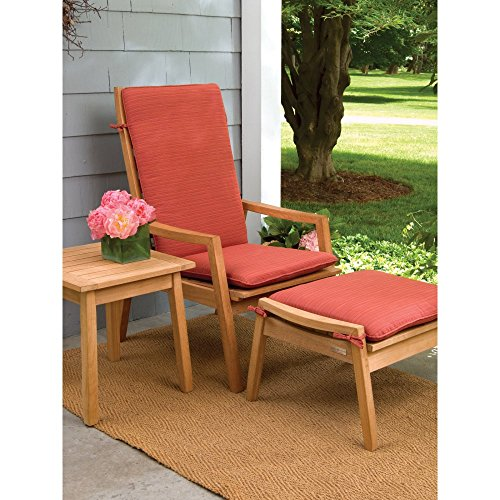 Oxford Garden 3 Piece Siena Chat Set + Cushions Armchairs, Ottoman, and Side Table, Dupione Papaya - Siena Side Table