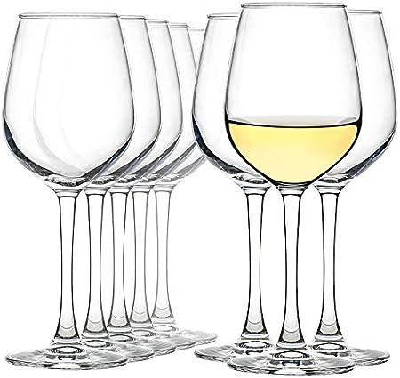 CREST juego de 6 Copas de Vino Blanco, 360 ml, Vaso de Cristal, Uso en Casa, Restaurante y en Fiestas