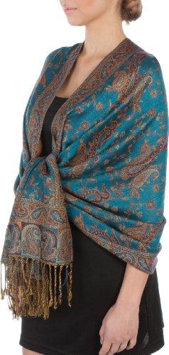 """70 x 28"""" Double Layer Jacquard Paisley Pashmina Shawl / Wrap / Stole - Turquoise"""""""