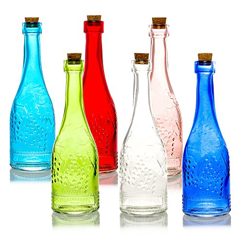 """6 Pack 6.6"""" Stella Assorted Colorful Vintage Glass Bottle with Cork Stopper- DIYWedding Flower Vase, Antique Glass Bottle & Bud Vase Wedding Centerpiece Party Decoration by PaperLanternStore.com from Quasimoon"""