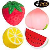NChance 4 Pcs Jumbo Squishies Slow Rising Silly Fruit Squishys Cute Squeeze Toy Peach Strawberry Lemon Watermelon Stress Relief Fidget Stress Therapy Playset, with 1 Extra Tattoo Sticker