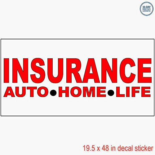 Insurance Auto Home Life Red Vinyl Decal Label Sticker Retail Store Sign   Sticks To Any Clean Surface 19 5 X 48 In