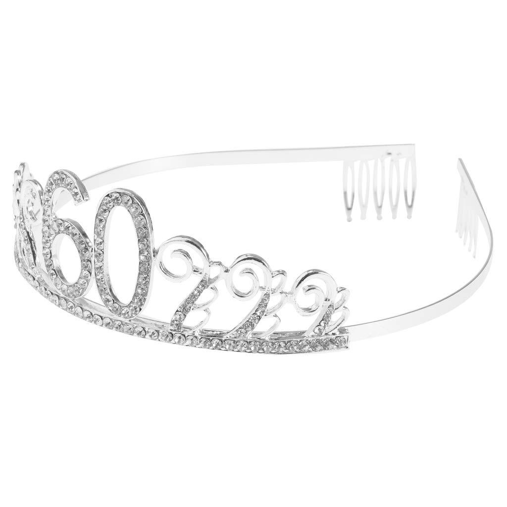 Baoblaze Tiara de Cristal de Plata Rhinestone Cumpleaños ...
