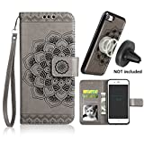 iPhone 6s Plus Case,iPhone 6 Plus Flip Embossed Leather Wallet Cases with Protective Detachable Slim Case Fit Car Mount,CASEOWL Mandala Flower Design with Card Slots, Strap for iPhone 6/6s Plus[Gray]