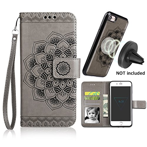 iPhone 8 Case,iPhone 7 Wallet Cases with Detachable Slim Case Fit Magnetic Car Mount, Card Solts Holder, CASEOWL Embossed Mandala Pattern Flower Floral Vegan Leather Flip Wallet Case [Gray]