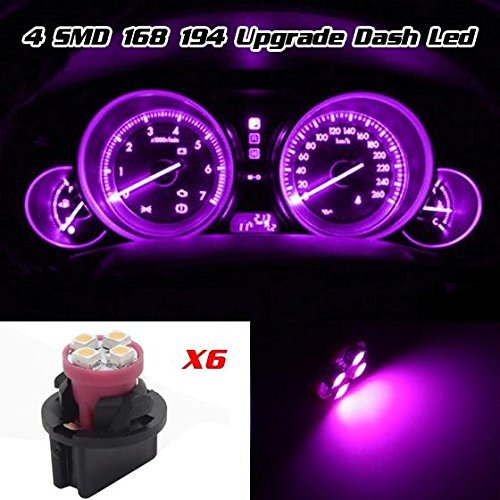 Partsam 6 Pack PC161 Twist Lock Gauge Instrument Panel Lights T10 LED Bulbs Pink Purple