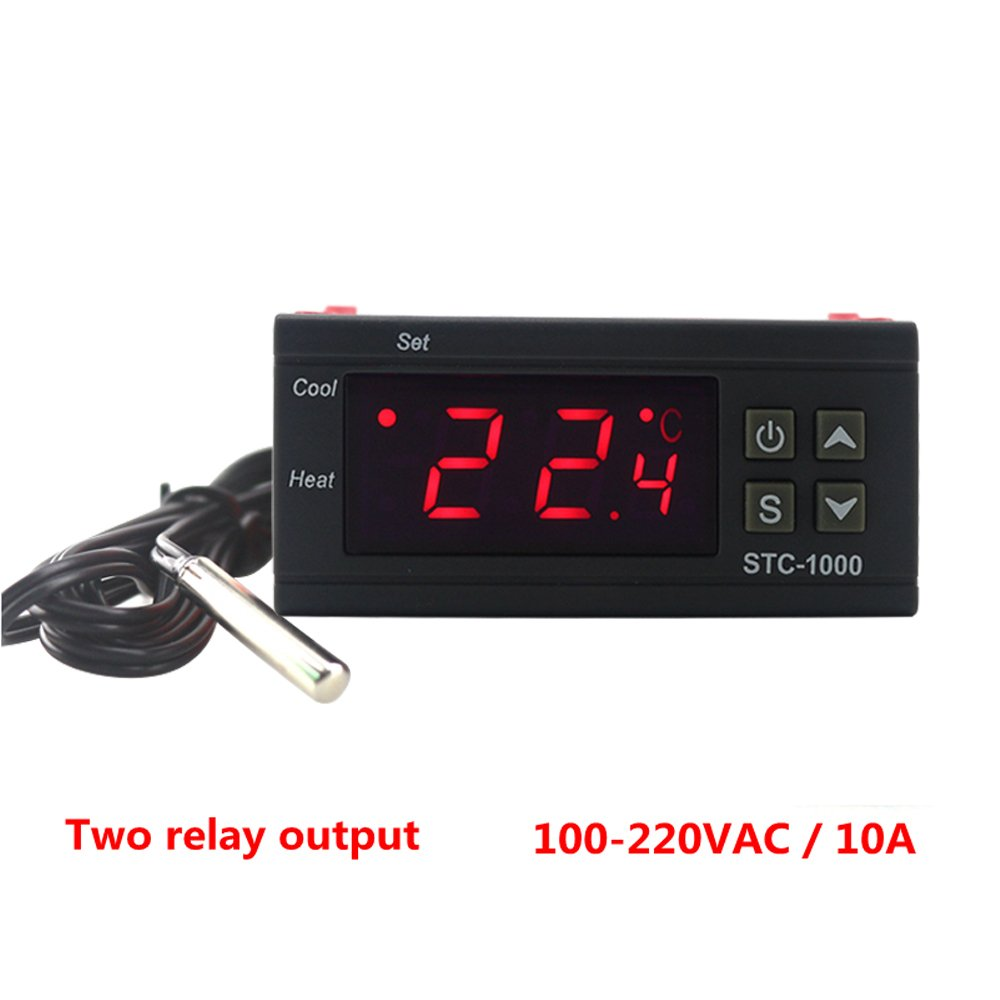 KETOTEK STC-1000 Digital Temperature Controller Digital LED Temperature Controller 110V Thermostat Sensor 2 Relay Output