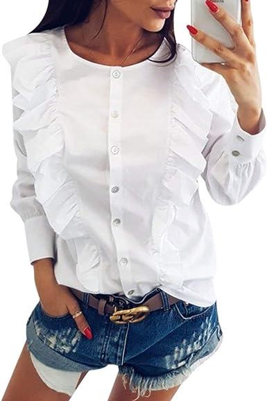 Camisa Mujer Elegantes Moda Joven Flecos Blusa Tops Manga Larga Cuello Outdoor Confortable Redondo con Volantes Anchos Casuales Primavera Otoño Camisas Camicia Bluse: Amazon.es: Ropa y accesorios