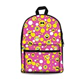 HUGS IDEA Classic Canvas Backpacks Emoji Printed Schoolbag for Primary College School Student Laptop Back Pack Review