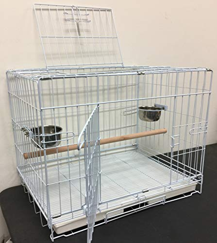 Mcage Collapsable Bird, Parrot, Dog and Cat Carrier Travel Cage (24-Inch Top & Side Opening)