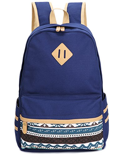 Leaper Casual Lightweight Canvas Laptop Bag Cute School Backpack Travel Bag (Large, Navy Blue)