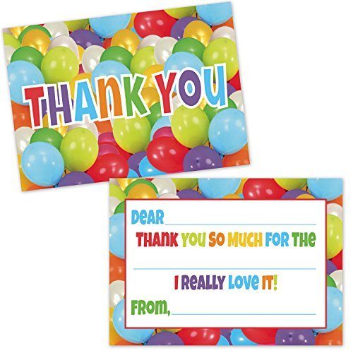 Colorful Party Balloons Fill in the Blank Thank You Cards for Kids (20 Count with Envelopes) - Thank You Notes for Boys and Girls -