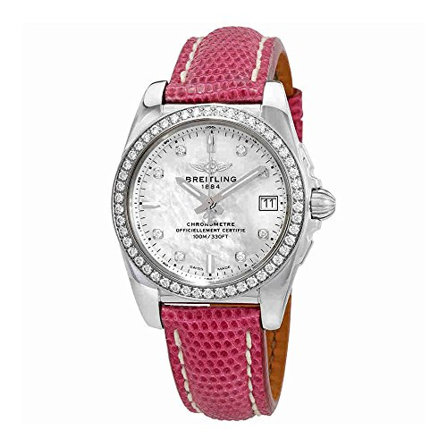 Breitling Galactic 36 Mother of Pearl Diamond Dial Ladies Leather Watch A7433053-A780LIZT