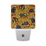 Naanle Set of 2 Calavera Sugar Skull Black Cats Mexican Style Day Of The Dead Dia De Muertos With Floral Flower On Yellow Auto Sensor LED Dusk To Dawn Night Light Plug In Indoor for Adults