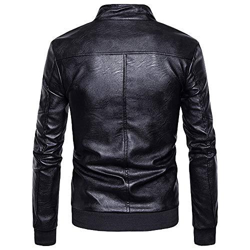 De CláSico Negro ImitacióN De Cuero Piel De Moto Estilo Chaquetas Beladla Chaquetas Chaqueta Biker Cazadora PU Hombre A 8nRS4