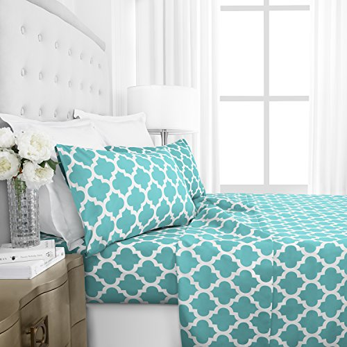 Egyptian Luxury 1800 Series Hotel Collection Quatrefoil Pattern Bed Sheet Set - Deep Pockets, Wrinkle and Fade Resistant, Hypoallergenic Printed Sheet and Pillow Case Set - Queen - Aqua