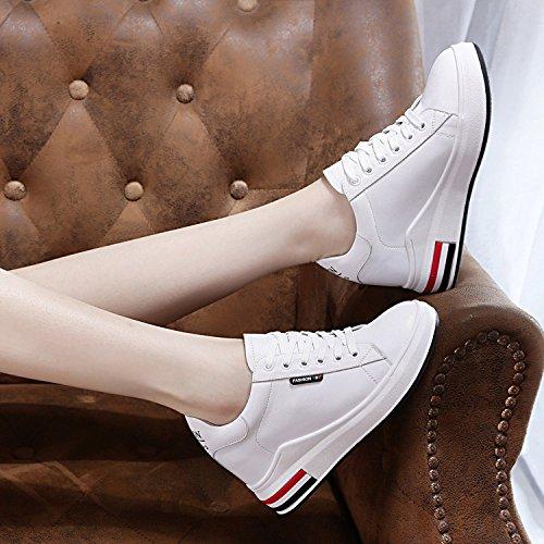SBL Zapatos de Verano para Mujeres aumentados con Zapatos Casuales Cómodos de Cuero Femenino,6633 Lista blan,34