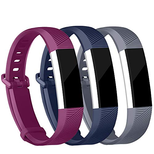Original Strap Wrist (iGK Replacement Bands Compatible for Fitbit Alta and Fitbit Alta HR, Newest Adjustable Sport Strap Smartwatch Fitness Wristbands Navy Grey Plum Small)