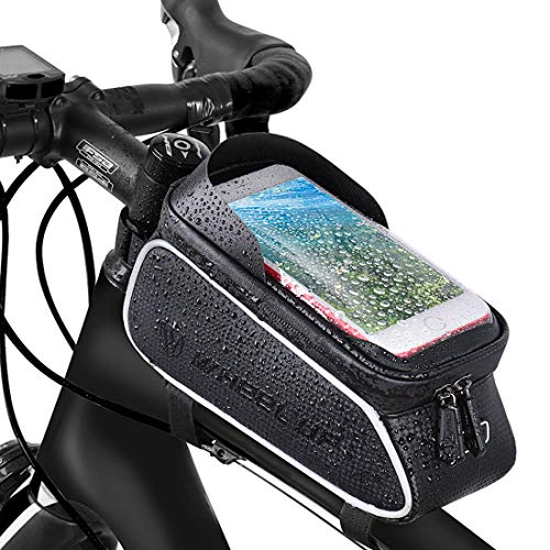 MOZOWO Bike Frame Bag, Bicycle Phone Holder, Waterproof Cycling Front Top Tube Pouch Bike Frame Phone Mount Pannier Crossbar Storage Bags for iPhone Xs MAX XR X 8 7 6 6S Plus Smartphones Below 6.0''