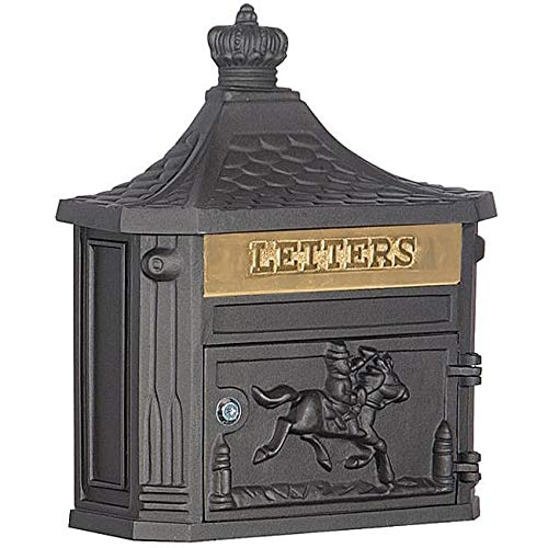 - MISC Locked Black Cast Aluminum Mailbox Wall Mounted Hanging Vertical Vintage Victorian Strong, Horse Themed