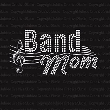 8ea6ca1f Amazon.com: Band Mom Iron On Rhinestone Crystal T-Shirt Transfer by JCS  Rhinestones