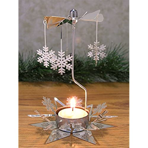 snowflake candle spinner rotating tea light candle holder scandinavian christmas silver snowflake charms